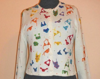 Vintage Beaded Sweater With Bikinis and Bathing Suits by Michael Simon New York