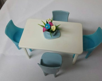 Plasco blue  and white Table and chairs Toy Dollhouse Traditional Style 1944 Flawed Chair