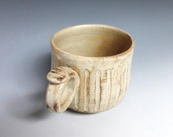 Beige Coffee Mug, White Stoneware Carved Coffee Mug with Striped design, Tan Coffee Mug, Handmade Pottery Mug