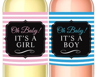 Its a Girl or Its a Boy Announcement Wine Label - Gender Reveal Gift - WEATHERPROOF and REMOVABLE - Wine Bottle Labels