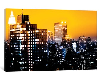 iCanvas Yellow Night - NYC Gallery Wrapped Canvas Art Print by Philippe Hugonnard