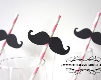 Set of 10 BABY PINK Striped Mustache Straw Photo Props - Mustaches on Baby Pink Striped Paper Straws