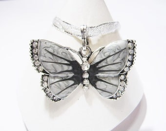 1 XL, Enamel, Butterfly Pendant, Antique Silver, Black & Grey with Clear Crystals Wing Borders and Body