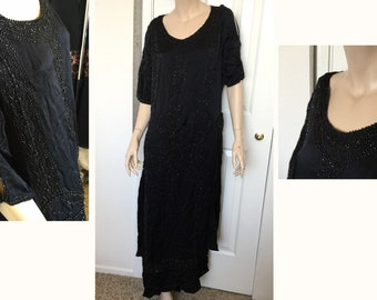 1920s silk dress flapper jet beaded butterfly black hand beaded mourning tailored swinging side panels antique vintage beaded gown