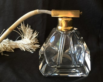 Art Deco perfume bottle atomizer pyramid cut glass Czech polished faceted sides tassel