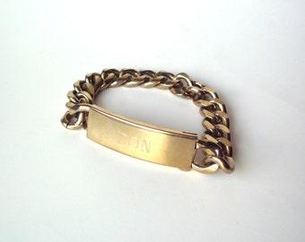 """Vintage I.D. Bracelet, Engraved """"Don"""", Goldtone or Brass Plated"""