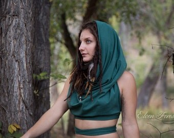 Cowl hood Crop Top ~ the original ~ Festival top, gypsy top, festival clothing, pixie top, hood, crop top, cowl