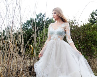 Sky Blue Handmade Lace top Tulle bottom Wedding gown