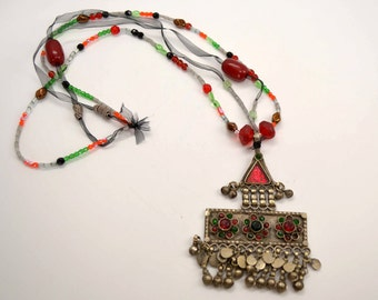 Vintage Kuchi Necklace w Beads, Tribal Jewelry, Gypsy Necklace, Bells, Boho Necklace