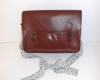 Handmade reworked Vintage large leather traditional school satchel shoulder bag with floral flower fabric bow strap