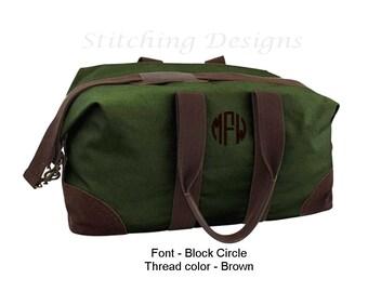 Monogram Canvas Duffle Bag,  Weekender, Travel weekender, Men's duffel, canvas satchel - GREEN or NATURAL with brown trim