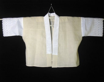Vintage Hemp / Linen Japanese Han-Juban Top Kimono Under-Layer Eyelet Sleeves.