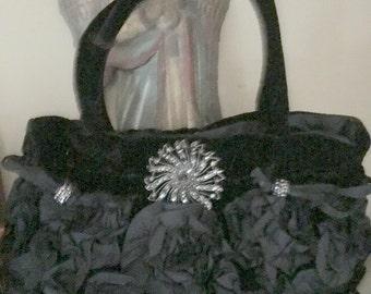 Velvet Handbag, black rhinestone brooch and beads