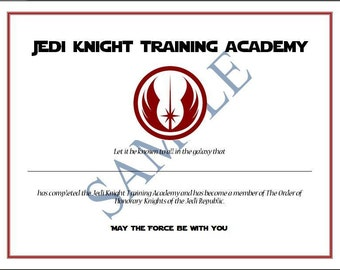 Jedi Knight Training Academy Certificate Party Favor