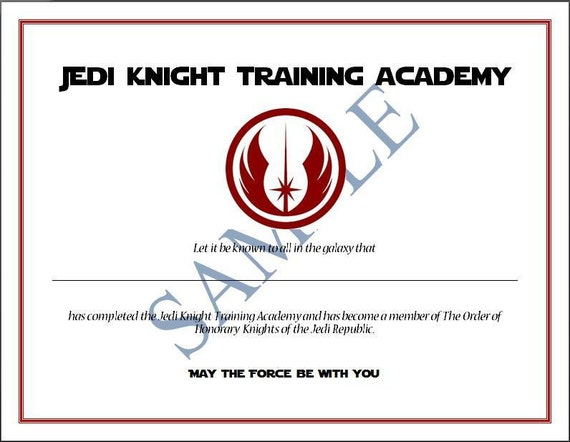 Star wars certificate printable search results for Jedi certificate template free