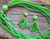 Multi Strand lime green plastic bead Necklace and Tassel Earrings,set / 7 strand necklace set / Hippie jewelry