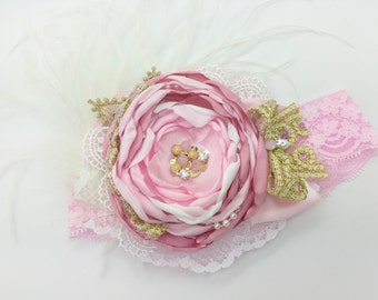 Satin Singed Flower Pink and Gold Headband,Girls Headband,Baby Headband,Infant Headband,toddler headband,newborn headband,birthday,pageant