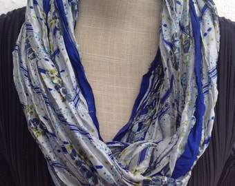 Vintage Sari silk infinity scarf.   FREE SHIPPING