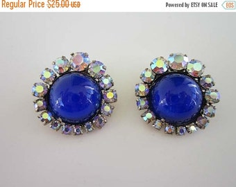40% OFF Bright Beautiful Blue Cabochon with AB crystals signed made in Austria