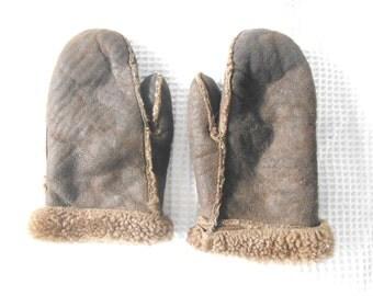 Winter Gloves DarkbrownBrown Sheepskin Wool Mittens  Vintage Retro 1980s Thick