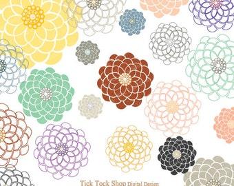 Colorful Blooms Flower SET - 03 (6inch)Clip Art