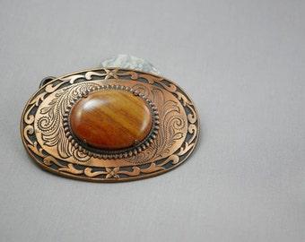 Belt Buckle Vintage Copper and Agate Belt Buckle