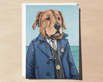 Reagan - Greeting Card - Blank Inside - Dogs In Clothes
