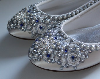 Something Blue Bridal Ballet Flats Wedding Shoes - Any Size - Pick your own shoe color and crystal color