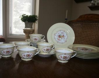 Vintage Noritake Fine Bone China Tea Coffee Dessert Set for Six 6 Elegant Flower Floral Yellow White Gold Trim