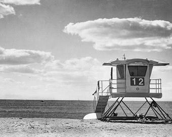 Black and White Beach Photography- Lifeguard Tower, Number 12, Doheny Beach CA Print, California Beach Print, Grey Beach Art, Coastal Decor