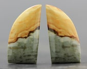 CLEARANCE Earth Tone Jasper Natural Earring Pair Jewelry Setting Cabochons Set of Two Loose Stone Jewels AAA Rocks, Minerals (CA5258)