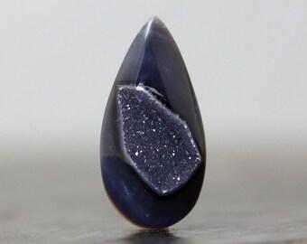 Flat Back Druzy Teardrop Smokey Blue Grey Natural Drusy Gemstone Agate Quartz Crystal Jewelry Pendant Crafting Supply Loose Geode (CA5359)