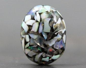 Mosaic Opal Stabilized Cabochon - July Birthstone - Semi Precious Gemstone Jewelry Crafts Colorful Stone Jeweler, Collector (CA5800)