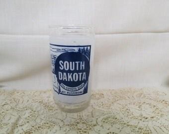 South Dakota Souvenir Tumbler Glass Vintage Federal Glass Kitchenware Kitchen Ware