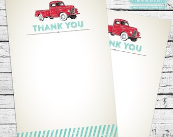 Red Truck Thank You Notes - Vintage style, printable PDF!