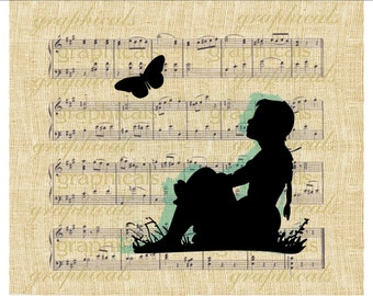 Daydreaming butterfly instant clip art Digital download image for Iron on Fabric transfer paper burlap decoupage pillow Dorm decor No. 2278