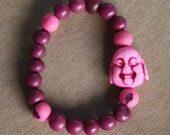 Happy Buddha and acai seeds Bracelet - Pink & Purple -  yoga, yogi, namaste, mala,