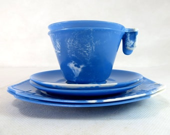 SALE! Art Deco Bakelite Trios, 2 'Stadium' Mottled Marbled Blue & White Early Plastic Cup Saucer Teaplate Picnic Sets 1930-40s