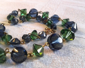 Vintage Crystal Bead Necklace, Blue and Green Faceted Beads.