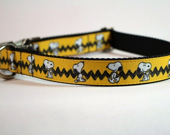 snoopy dog collar, peanuts dog collar, yellow collar,  martingale collar, Metal buckle collar, pet gift, dog accessory, bozies bags