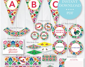 INSTANT DOWNLOAD Fiesta Bridal Shower Party Package, Mexican Theme Bridal Shower, Fiesta Printables, Fiesta Decorations, Mexican Shower