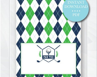 Golf Printable Table Tents, Green and Navy Blue Argyle Buffet Place Cards, Little Golfer Party Decorations, Instant Download, Digital File