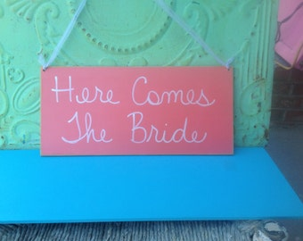 Coral and White Here Comes The Bride Wedding Sign, Coral Wedding Signage, Bride Wedding Hanger