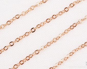 C110-GRG// Glossy Rose Gold Plated Small Cable Chain, 3M