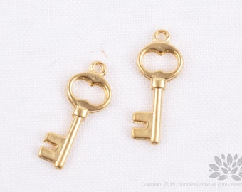 P733-MG//Matt Gold Plated Key Pendant, 4pcs