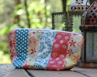 Boho Zipper Pouch, Travel Bag, Cosmetic Bag, Diaper Bag, Small