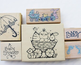 Baby Shower rubber stamps Misc. Wood mounted baby buggy Umbrella Baby blocks toys Footprints