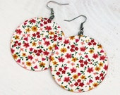 Colorful Pink Yellow Spring Flowers White Floral Fabric Decoupaged Earrings Textile Jewelry (MAXI)