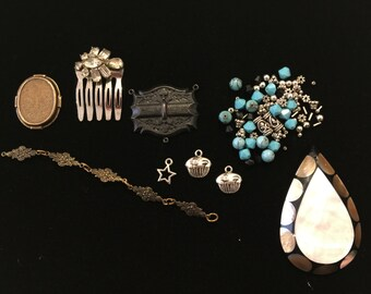 Vintage destash jewelry parts, pendant, rhinestone, chain, beads for repurpose or deconstruction
