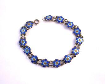 Minimalist Vintage Guilloche Enameled Dainty Flower Bracelet